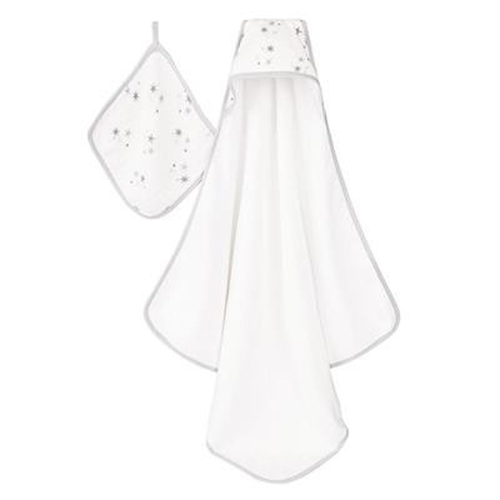 Aden and Anais Hooded Towel and Washcloth Set Twinkle-Aden + Anias-The Bugs Ear