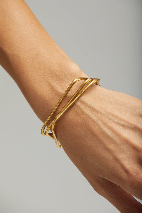 Mod Bangles Brass Set of 3-Fashionable-The Bugs Ear