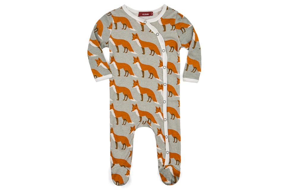 Milkbarn Footed Romper Orange Fox-Milkbarn-The Bugs Ear