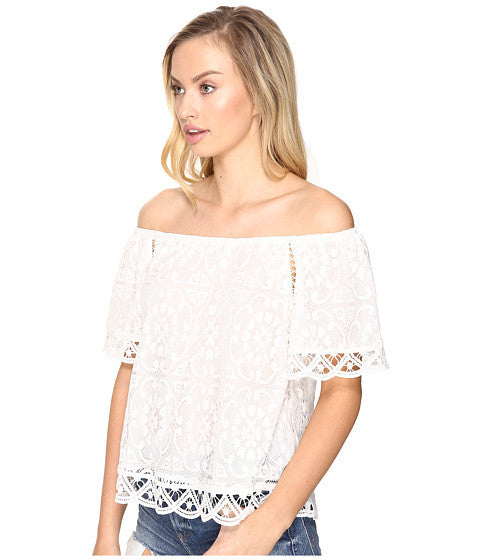 BB Dakota Curren Off The Shoulder Lace Top in Ivory-BB Dakota-The Bugs Ear