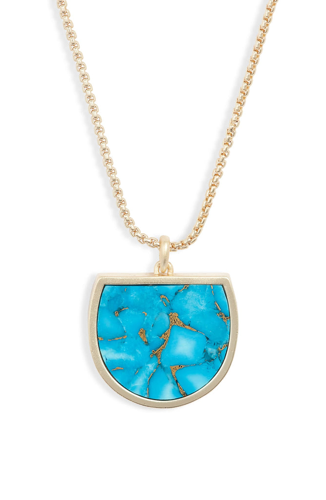 Kendra Scott Luna Pendant Gold Necklace in Bronze Veined Turquoise-Kendra Scott-The Bugs Ear