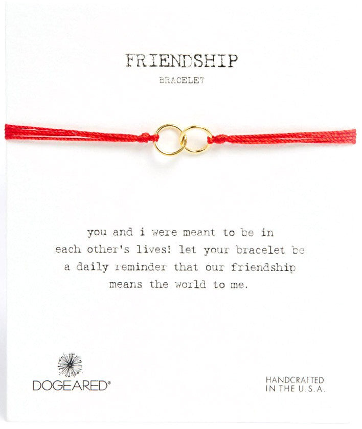 Dogeared Friendship Double Linked Rings Bracelet Gold Dipped Red-Dogeared-The Bugs Ear