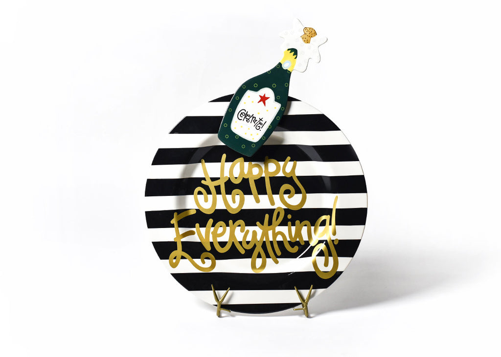 Happy Everything Big Platter Black Stripe Champagne Attachment-Coton Colors-The Bugs Ear