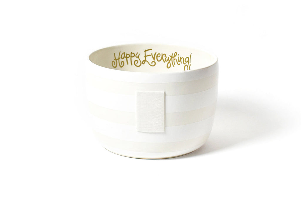 Happy Everything Big Bowl White Stripe-Coton Colors-The Bugs Ear