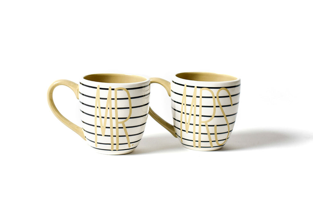 Mr. & Mrs. Mug Black Stripe Set Of 2-Coton Colors-The Bugs Ear