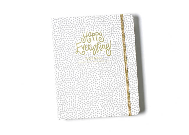 Happy Everything Gray Small Dot 17 Month Large Agenda-The Bugs Ear-The Bugs Ear