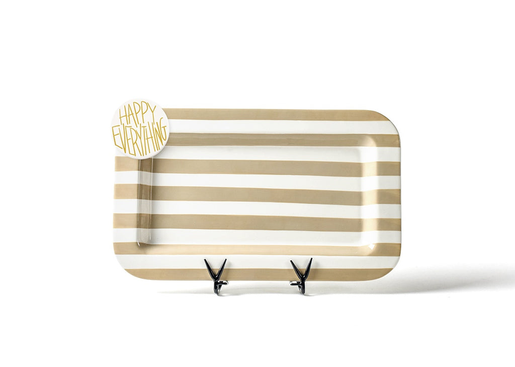 Happy Everything Neutral Stripe Mini Entertaining Platter with Happy Everything Mini Attachment-Coton Colors-The Bugs Ear