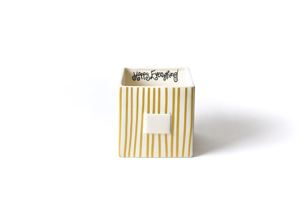 Happy Everything Gold Stripe Mini Nesting Cube Medium-Coton Colors-The Bugs Ear