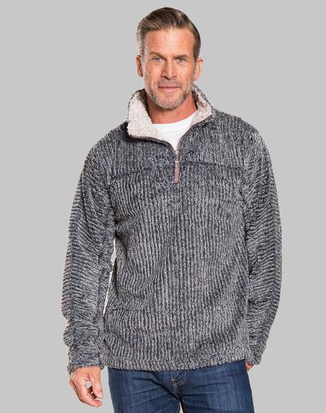 True Grit Frosty Cord Pile Quarter Zip Pullover in Vintage Black-True Grit-The Bugs Ear