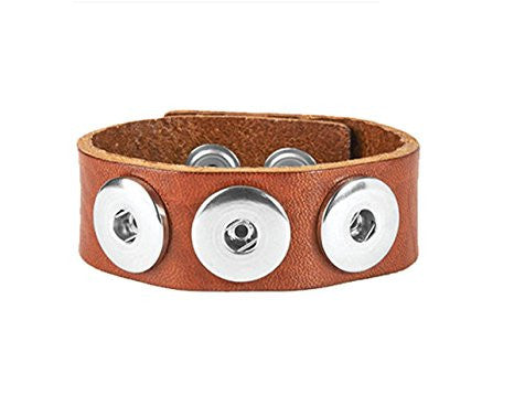 Ginger Snaps 3 Snap Leather Bracelet - Brown-Ginger Snaps-The Bugs Ear