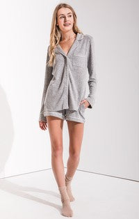 Z Supply Luxe Menswear Pajama Shirt Grey-Z Supply-The Bugs Ear