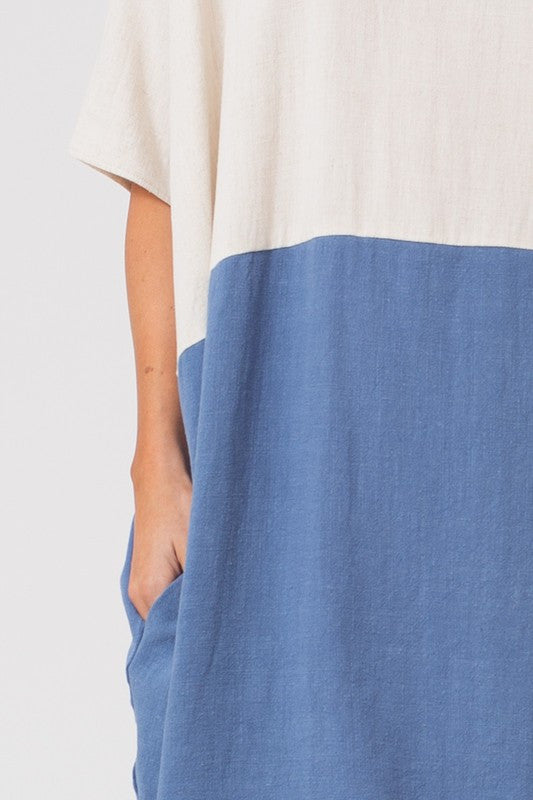 Charlotte Half Contrast Linen Dress in Denim-Love In-The Bugs Ear