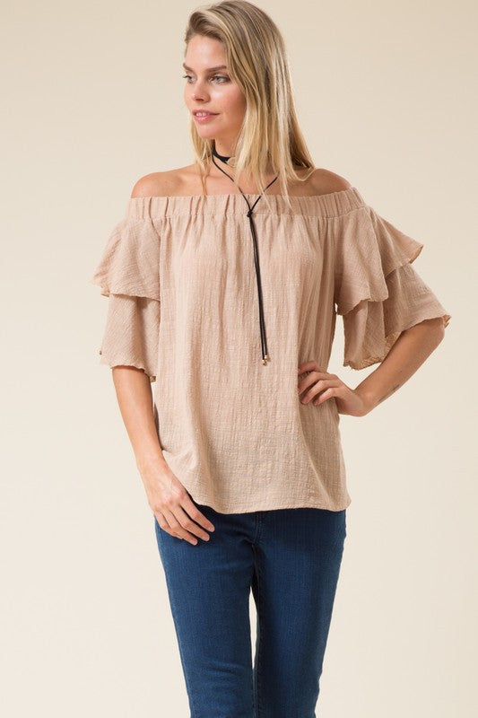 Leslie Off Shoulder Ruffle Sleeve Linen Top in Almond-Love In-The Bugs Ear
