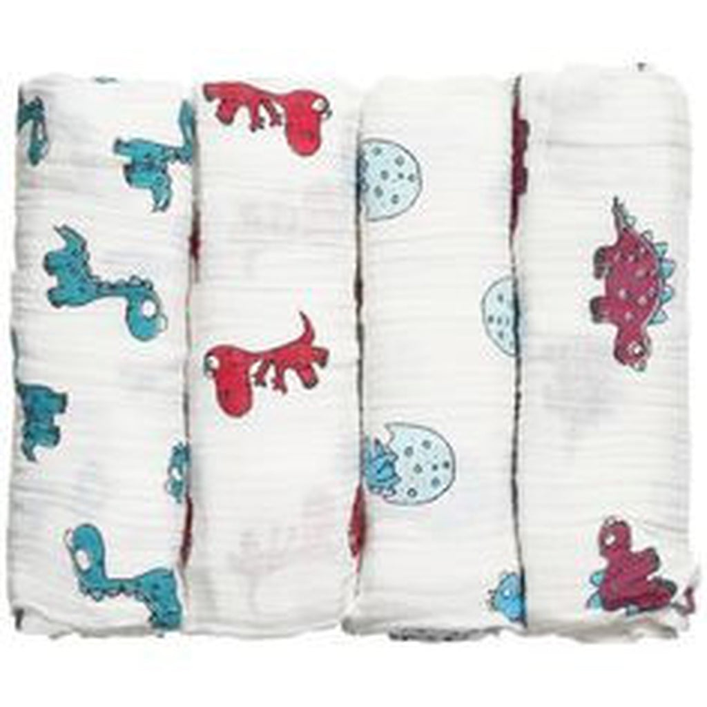 Aden and Anais Swaddle 4 pack Set Dino-Mite-Aden + Anias-The Bugs Ear