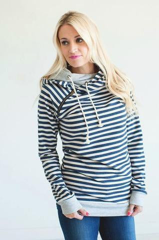 Ampersand Ave Navy Stripe Double Hooded Sweatshirt-Ampersand Ave-The Bugs Ear