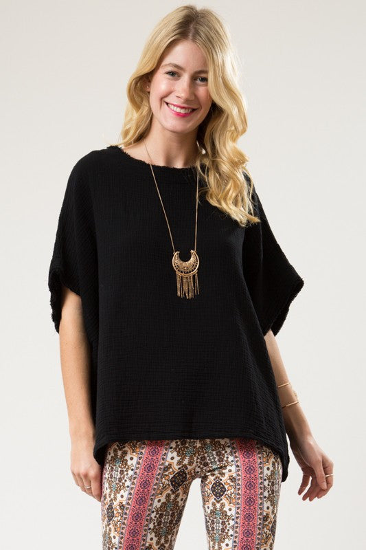Miranda Dropped Shoulder Round Neck Top Black-Love In-The Bugs Ear