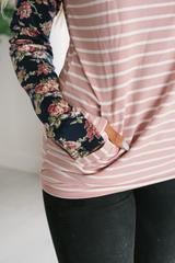 Ampersand Ave Pink Stripe and Navy Floral DoubleHood Sweatshirt-Ampersand Ave-The Bugs Ear