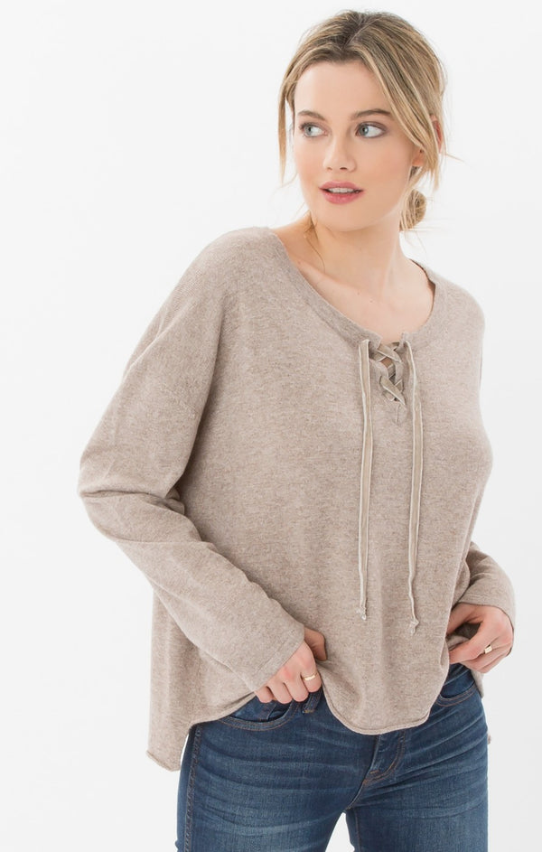 Jackie Oversized Lace Up Top in Quail-Rag Poets-The Bugs Ear
