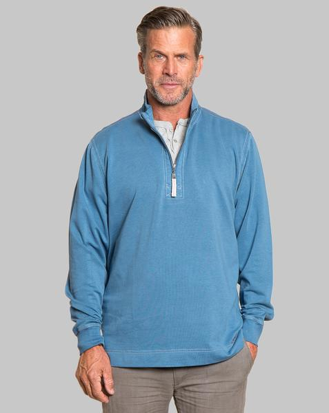 True Grit Men's Cashmere Heather Fleece Zip Pullover in River-True Grit-The Bugs Ear