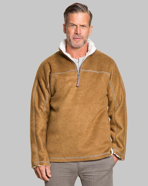 True Grit Melange and Sherpa Quarter Zip Pullover in Saddle-True Grit-The Bugs Ear