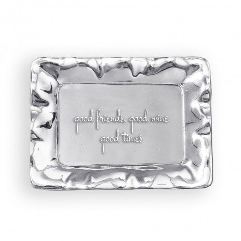 Beatriz Ball Giftables Vento Rectangle Engraved Tray - Good Wine, Good Friend, Good Times-Beatriz Ball-The Bugs Ear