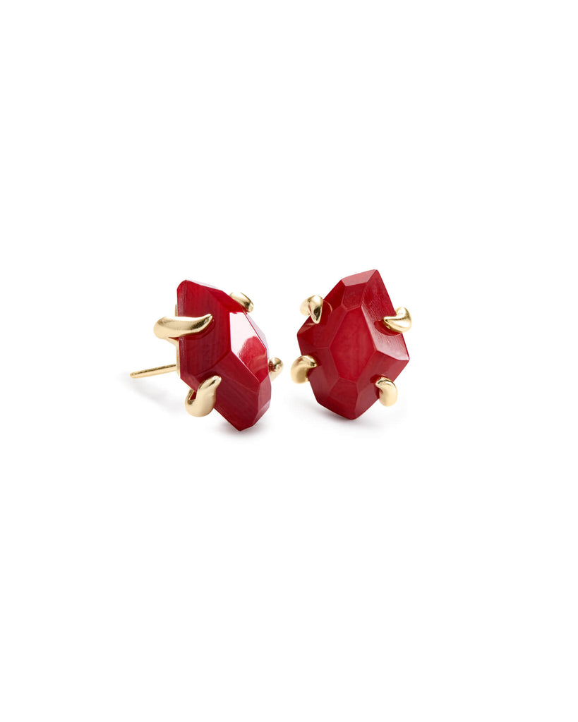 Kendra Scott Inaiyah Gold Stud Earrings In Red Mother Of Pearl-Kendra Scott-The Bugs Ear
