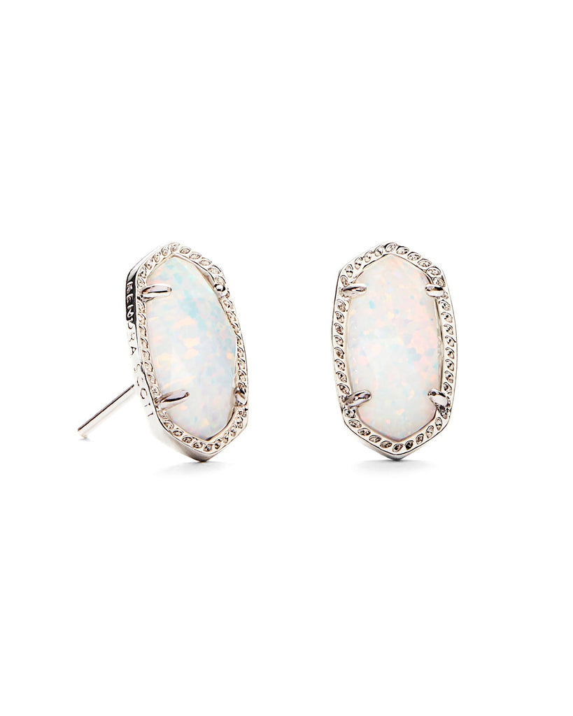Kendra Scott Ellie Earrings in Silver and White Opal-Kendra Scott-The Bugs Ear