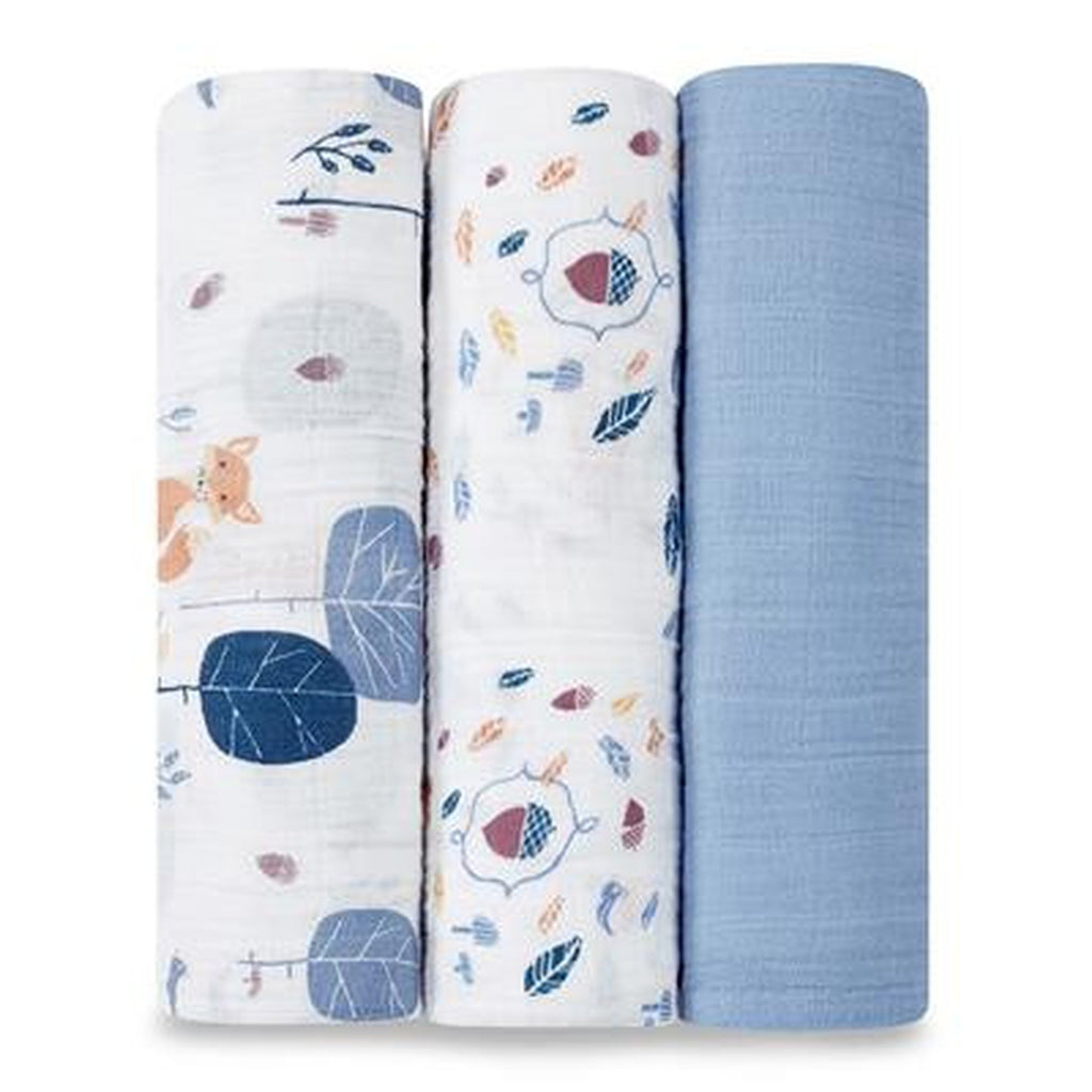 Aden and Anais Organic Swaddle 3 pack Set Into the Woods-Aden + Anias-The Bugs Ear