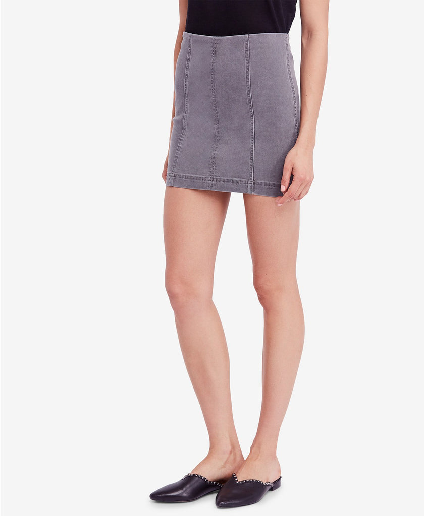 Free People Modern Femme Denim Skirt Light Grey-Free People-The Bugs Ear