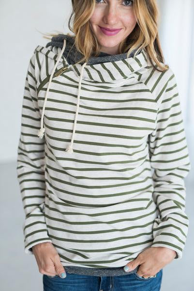 Ampersand Ave Olive Stripe Double Hooded Sweatshirt-Ampersand Ave-The Bugs Ear