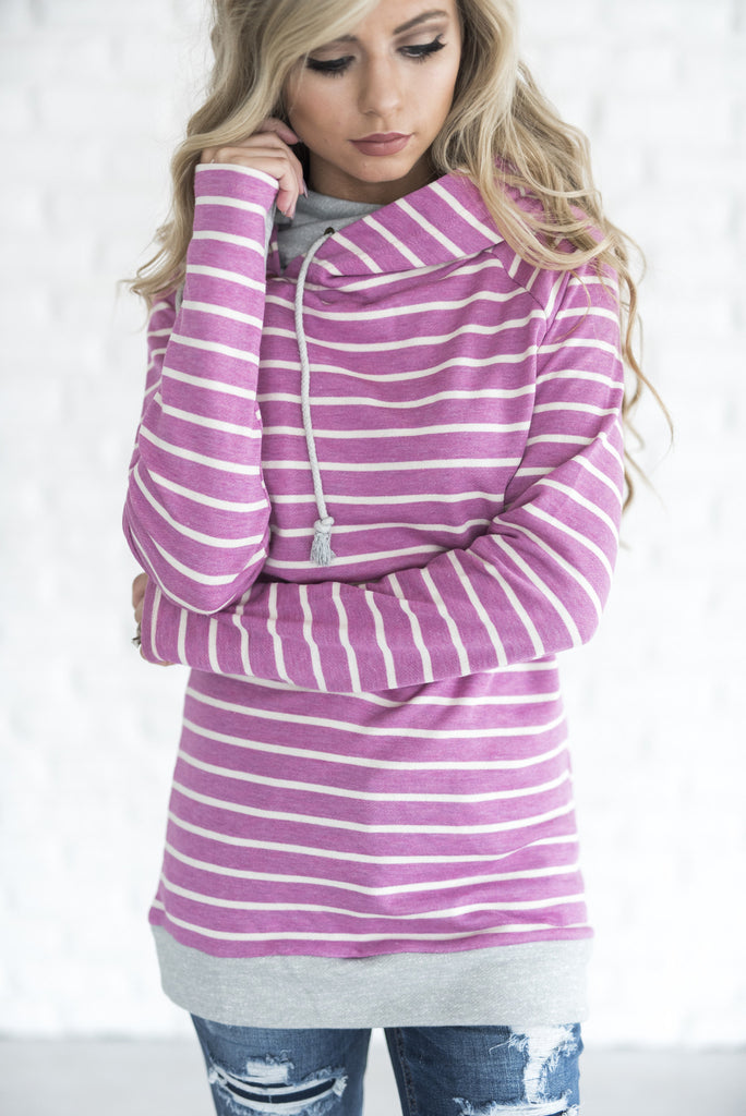 Ampersand Ave Magenta Stripe Double Hooded Sweatshirt-Ampersand Ave-The Bugs Ear