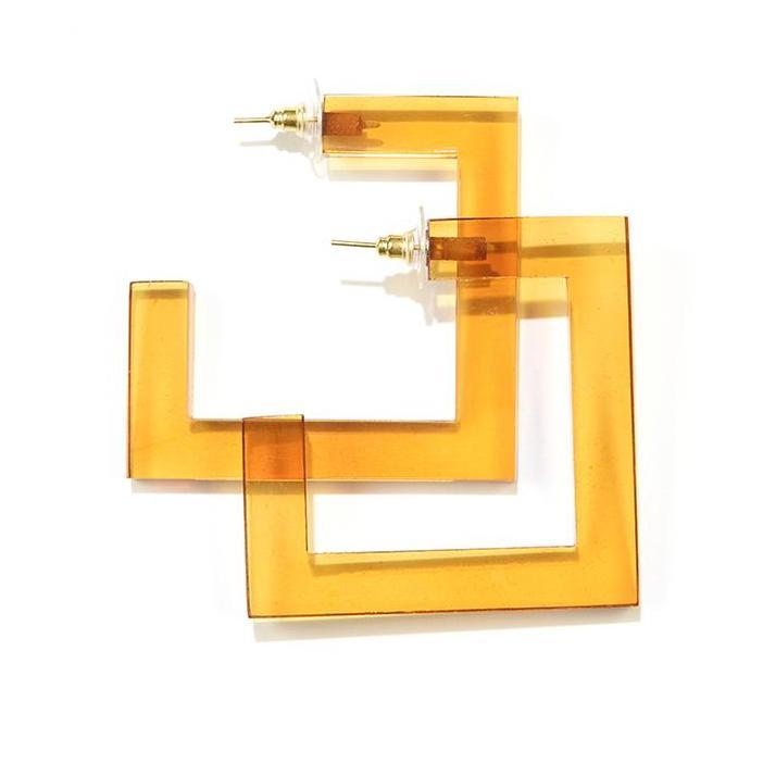 INK ALLOY Amber Lucite Square Hoop Earrings-INK + ALLOY-The Bugs Ear