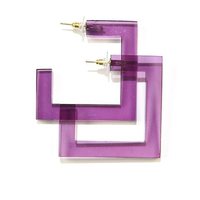 INK ALLOY Eggplant Lucite Square Hoop Earrings-INK + ALLOY-The Bugs Ear