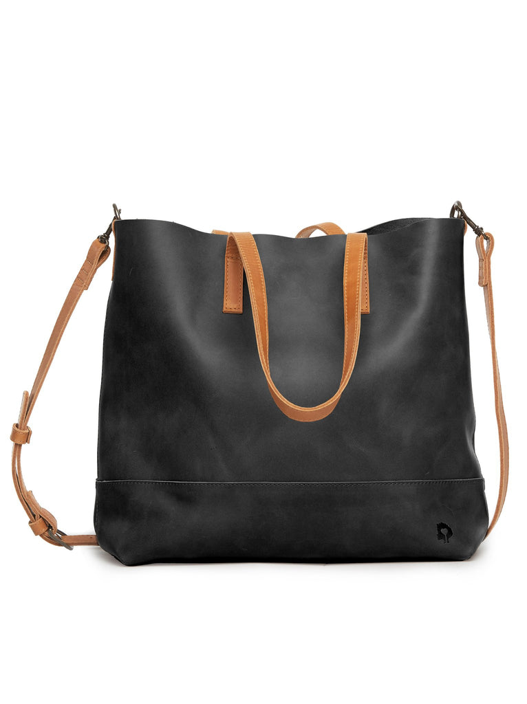 Abera Crossbody Tote in Black and Cognac-Fashionable-The Bugs Ear