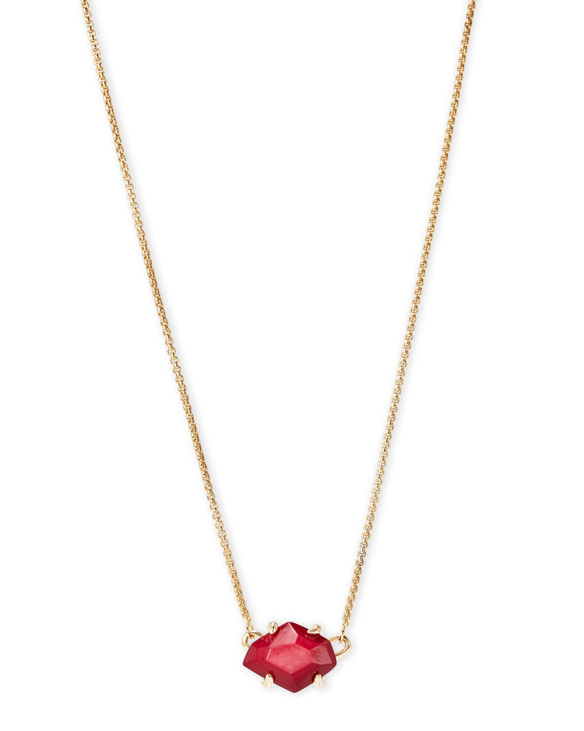 Kendra Scott Ethan Gold Pendant Necklace In Red Mother Of Pearl-Kendra Scott-The Bugs Ear