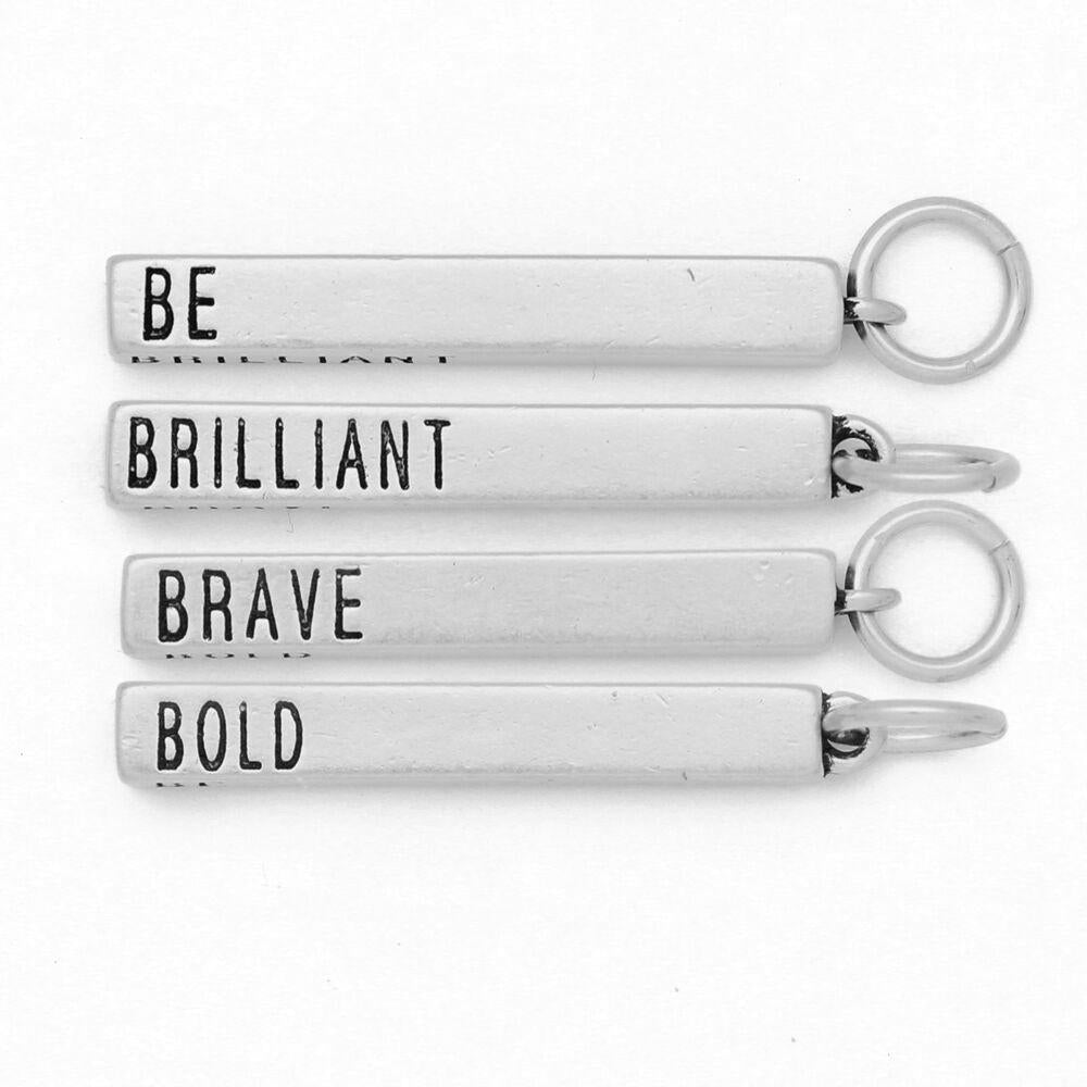 Benny and Ezra Cube Pendant Be, Brilliant, Brave, Bold in Matte Silver-Benny and Ezra-The Bugs Ear