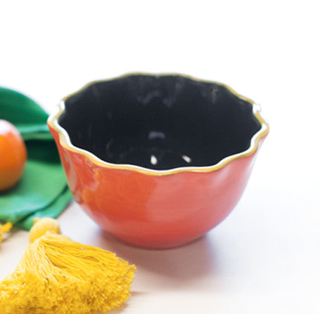 Coton Colors Color Block Ruffle Appetizer Bowl-Persimmon-Coton Colors-The Bugs Ear
