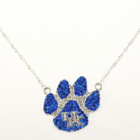 Kentucky Wildcats Paw Crystal Logo Necklace-Seasons Jewelry-The Bugs Ear