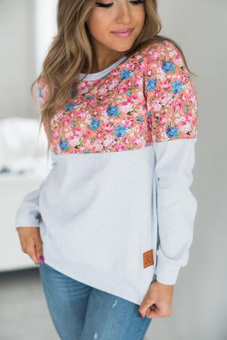 Ampersand Ave Floral Accent Pullover Pink-Ampersand Ave-The Bugs Ear