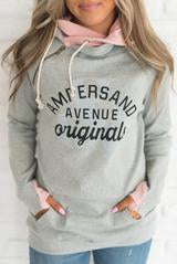 Ampersand Ave Grey Ampersand Logo DoubleHood Sweatshirt-Ampersand Ave-The Bugs Ear