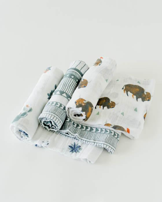 Little Unicorn Cotton Muslin Swaddles Set Bison-Little Unicorn-The Bugs Ear