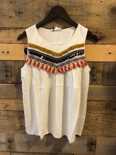 Layla Cream Sleeveless Top with Tassels-THML-The Bugs Ear