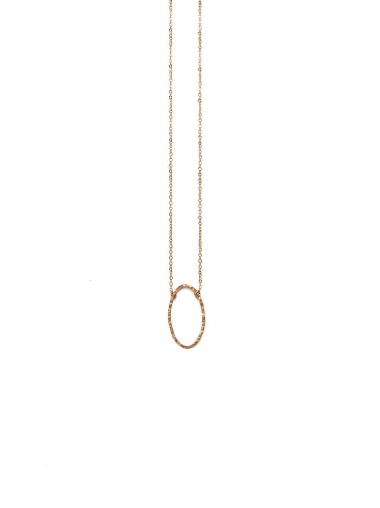 Floating Shape Necklace Gold Oval-Fashionable-The Bugs Ear