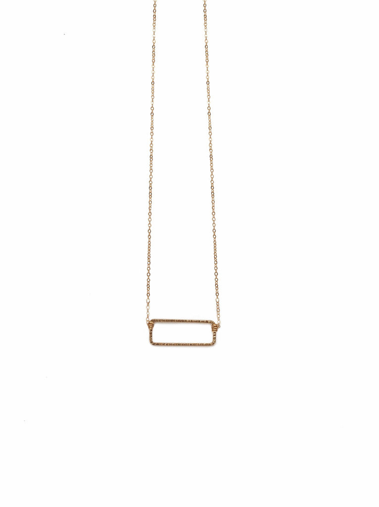 Floating Shape Necklace Gold Rectangle-Fashionable-The Bugs Ear