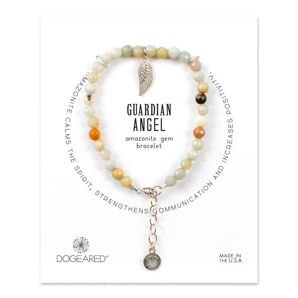Dogeared Guardian Angel Amazonite Gem Bracelet in Silver-Dogeared-The Bugs Ear