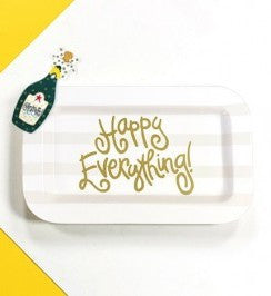 Happy Everything Mini Rectangle Platter White Stripe with Champagne Attachment-Coton Colors-The Bugs Ear