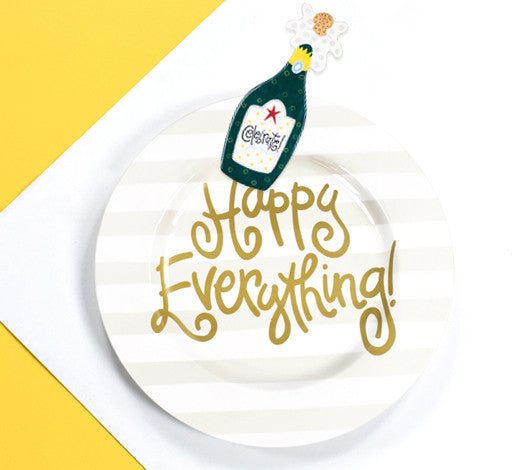 Happy Everything Big Platter White Stripe Champagne Attachment-Coton Colors-The Bugs Ear