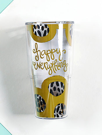 Happy Everything Bubble 24 oz Tumbler-Coton Colors-The Bugs Ear