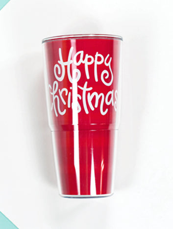Happy Everything Happy Christmas 24 oz Tumbler-Coton Colors-The Bugs Ear
