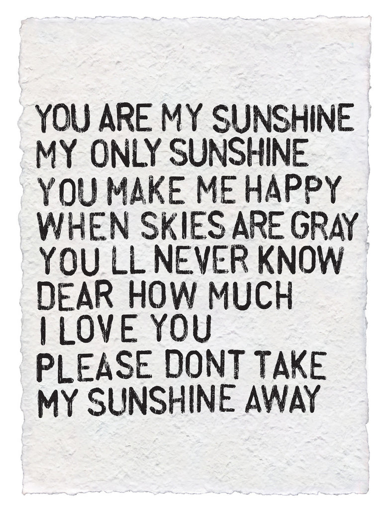 Handmade Paper Art Prints You Are My Sunshine-Sugarboo Designs-The Bugs Ear